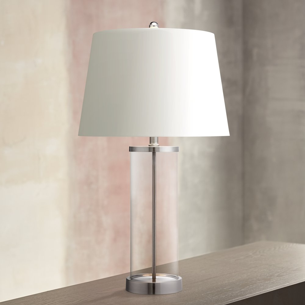 Glass and steel cylinder fillable table lamp lamps with a glass and steel cylinder fillable table lamp lamps with a fillable base amazon geotapseo Gallery