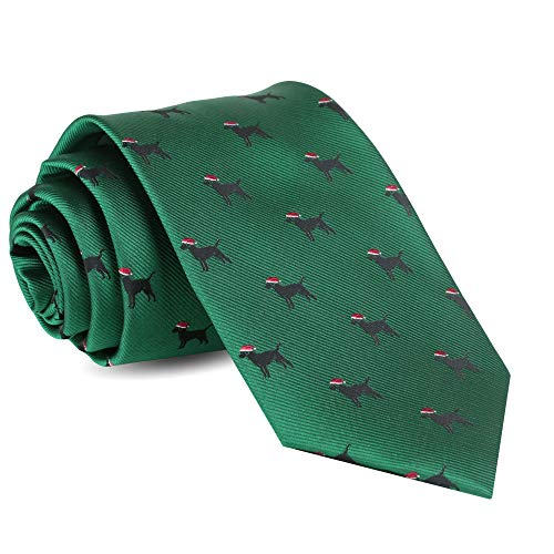Christmas Ties For Men: Mens Woven Black Lab Dog Necktie Green Holiday Twill Tie
