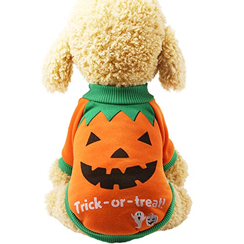 426JingYu Dog Cold Weather Coats, Dog Halloween Costumes Halloween Pumpkin Witch T-Shirt Soft Clothes Costume Jacket for Small Medium Large Dogs Halloween Christmas Sweater Pet-Costumes Outfits 2# M]()