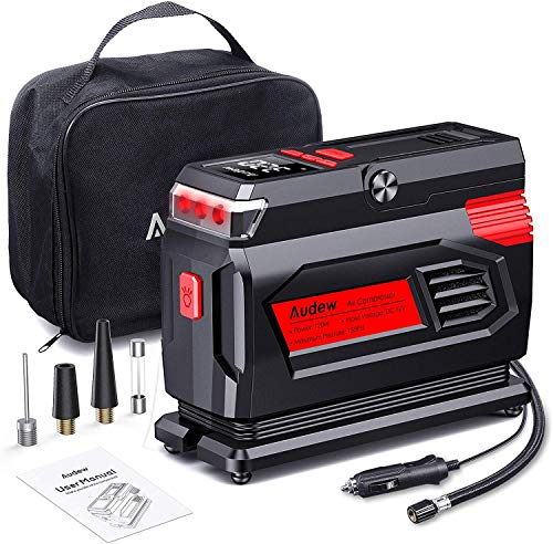 Audew Air Compressor Tire Inflator - 12V Heavy Duty Portable Wheel Air Pump for Car Tires - The Most Durable and Reliable Auto Companion