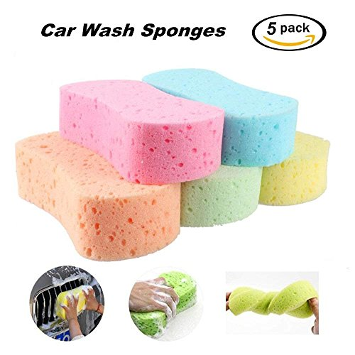 FOLCONROAD Car Wash Sponges 5pcs Mix Colors Cleaning Scrubber Handy Multi Functional Washing Sponges for Kitchen with Vacuum Compressed Packing