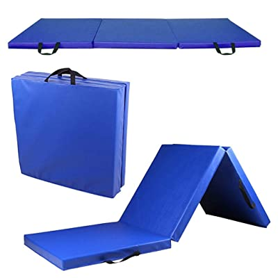 "Folding Gymnastics Mat | 6' x 2' x 2"" Thick Fri-Fold Folding Anti-Tear Tumbling Mat w/Carrying Handles, PU Leather Exercise Mat Gym Training Pad for Home Yoga (from US, Blue): Kitchen & Dining"