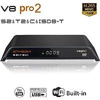 GT MEDIA V8 PRO2 DVB-T/T2 ISDB-T S/S2/S2X Cable HD 1080P TV Digital Terrestrial Receiver Satellite Decoder Wi-Fi Built-in, H.264 / H.265 HEVC / MPEG2 / MPEG4 Support New cam IP TV