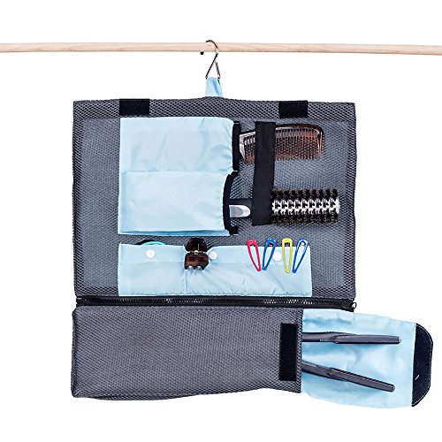 G.U.S. Professional Hair Tools and Accessories Hanging Organizer for Travel and Home-Use Bag, with Detachable Curling and Straight Iron (Tri Fold Tie Case)