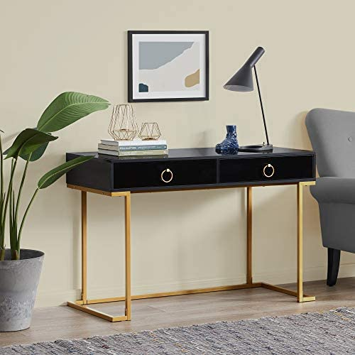 BELLEZE Home Office Two-Drawers Computer Desk Vanity Table, Wood and Metal, Black and Gold
