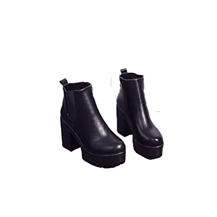 3259c04a0151d Amazon.com: Yaloee Women's Martin Boots Leather Thick Heels Round ...