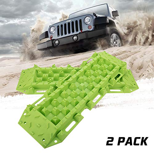 BUNKER INDUST Traction Tracks Mat, 2 Pcs Traction Boards Recovery Tool for Off-Road 4X4 Mud, Sand, Snow-Green Track Tire Ladder