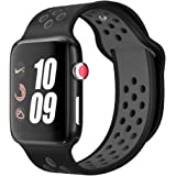 ORIbox Compatible for Apple Watch Band 42mm 44mm,Breathable Soft Silicone Replacement Wristband for iWatch Series 5/4/3/2/1, Sport, Nike+, Edition,S/M,Black (Wristband 42MM/44MM S/M)