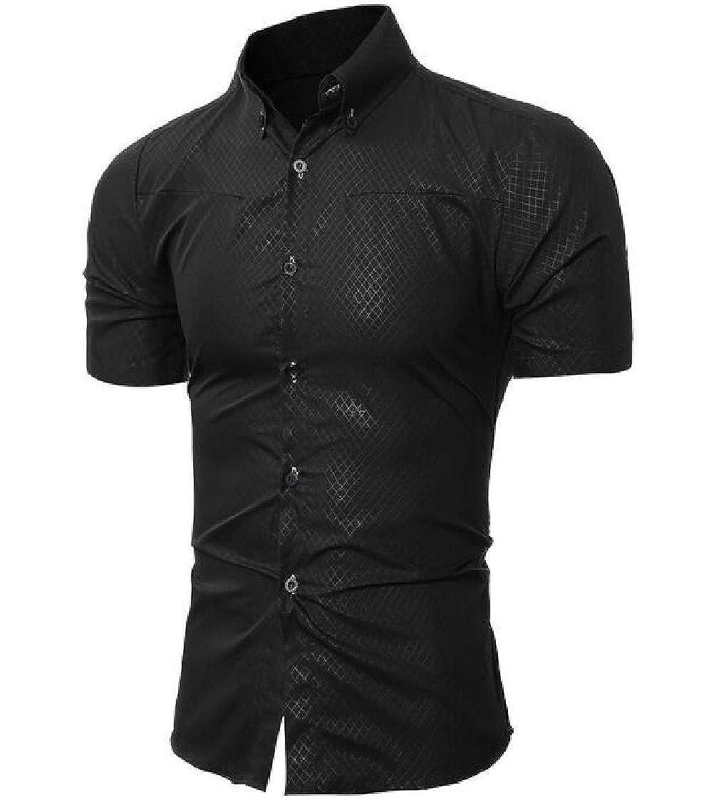 Nanquan Men Solid Slim Button Up Big /& Tall Short Sleeve Shirt