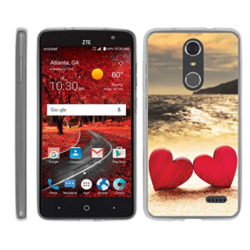TurtleArmor | Compatible for ZTE Grand X 4 Case | Grand X4 Case | ZTE Blade Spark Case [Flexible Armor] Fitted Ultra Slim Clear Flexible TPU Case Soft Protector Beach - Red Hearts Love (Cricket Cases Zte Grand Phone)