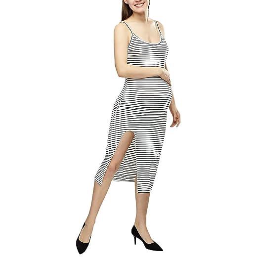 04403b3b9418 Amazon.com: BSGSH Women's Striped Sleeveless Side Split Maternity Dresses  Stretch Basic Fitted: Clothing