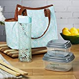 fresh fit containers - Fit & Fresh Ladies' Westerly Insulated Lunch Bag Set with Reusable Containers and 20 oz. Matching Water Bottle, Zipper Closure, Pocket (Aqua Stamped Rings)