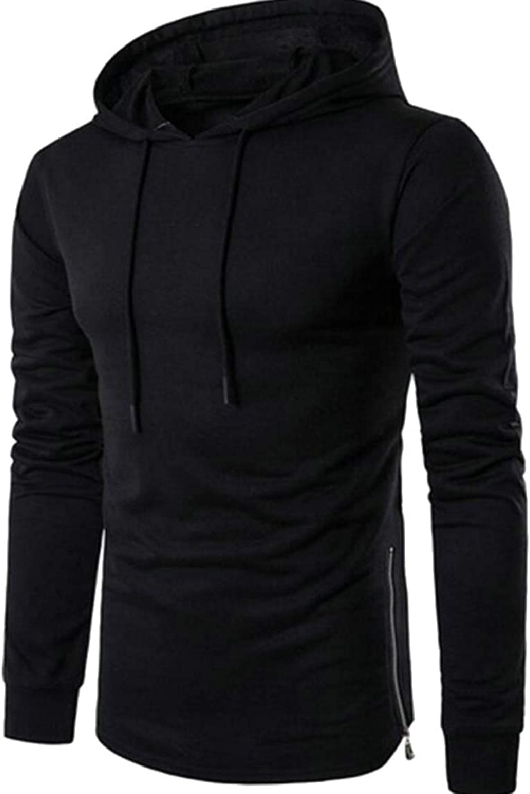 Yayu Mens Solid Color Side-Zip Hipster Long Sleeve Hoodies Pullover Sweatshirts