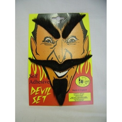 BLACK MOUSTACHE AND BEARD SET DEVIL HALLOWEEN by Home & Leisure Online