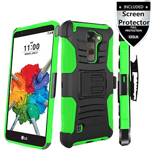 LG Stylo 2 Case,IDEA LINE INC(TM)Heavy Duty Armor Shock Proof Dual Layer Holster Locking Belt Swivel Clip with Kick Stand+Free Stylus Pen+Free HD Screen Protector(Green/Black)