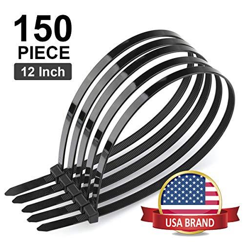 Cable Ties 12 Inch (150 Piece)-Heavy Duty Nylon Zip Ties for Indoor and Outdoor, UV Resistant Industrial Grade Self Locking Wire Ties, Black