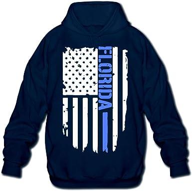 OPQRSTQ-O Florida Thin Blue Line Police Mens Funny Hooded Sweatshirt Hoody