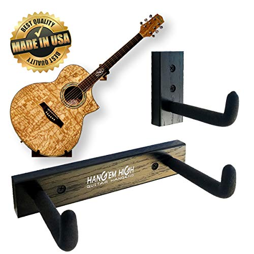 (Angled Guitar Wall Hanger Display for Acoustic and Thick Body Guitars - Black Finish )