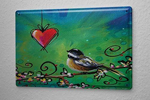 Weytff Funny Metal Sign Bird Love Tin Sign Iron Wall Hanging Art Home Decor 12x16(30x40cm)