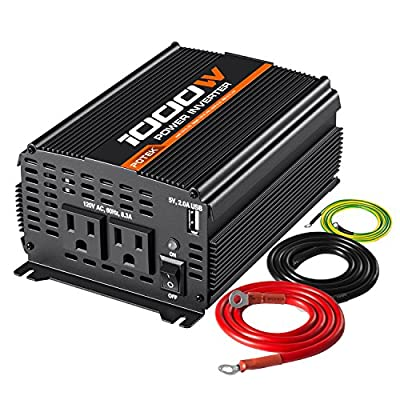 POTEK 1000W Power Inverter Dual AC Outlets 12V DC to 110V AC Modified Sine Wave Inverter with USB Port