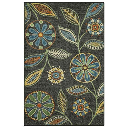 Maples Rugs Reggie Floral Kitchen Rugs Non Skid Accent Area Carpet [Made in USA], Multi, 2'6 x 3'10 (Kitchen Rugs For Small)