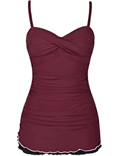31c3563996045 Hilor Women's One Piece Swimsuits Tummy Control Swimwear Ruffle Swimdress  with Built in Swim Brief
