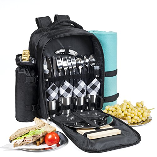 One Savvy Girl Picnic Backpack for 4 with Premium Stainless Steel Tableware - Complete 4 Person Picnic Basket Set w/Blanket, Insulated Food Cooler Bag, Wine Opener, Cheese Board, Napkins & More
