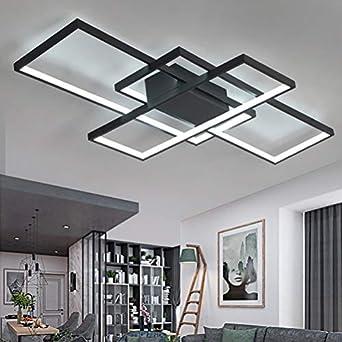 Wohnzimmerlampe Modern LED Decke Dimmbar Acryl Lampenschirm Deckenleuchte  Chic Eckig Designer-Lampe Esszimmer Esstischlampe Fernbedienung Deko