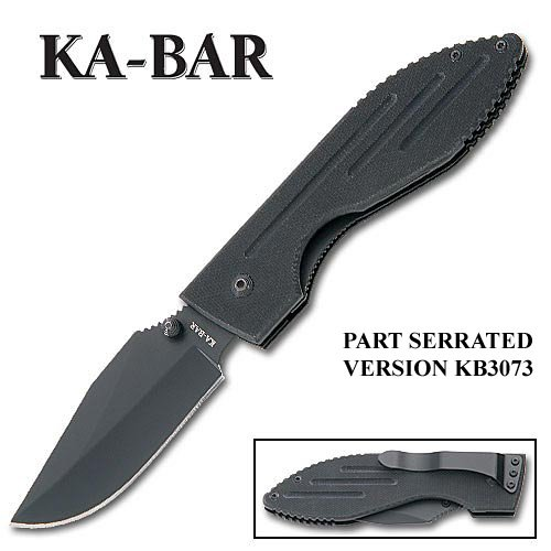 KABAR 2-3072-1 Warthog Folder Knife II Black G-10 Handle Black Blade Plain, Outdoor Stuffs