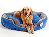 PLS Pet Snugg Bolster Self-Warming Pet Bed (Blue - Large - 27Wx30L) - Dog Bed for Medium Dogs - Completely Washable - Easy-clean - Modern Design - Durable