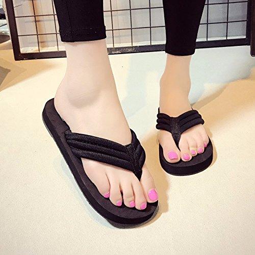 Simple XIAOGEGE Antideslizante de Plano y Moda Femenina Playa Playa Ropa Estilo Herringbone Zapatos Clip Nuevo de negro Verano qrxPwA7rZt