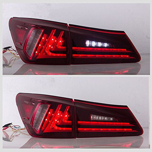 Vland LED Tail Lights For 2006-2012 Lexus IS250 IS350 ISF Red Lens Rear Brake Lights L+R, Plug and Play