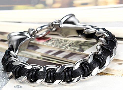 Flongo Bracelet Acier Inoxydable Noir Argent Chaîne Faucheur Faucheuse Crâne avec Cordon Cuir Véritable Entrelacé