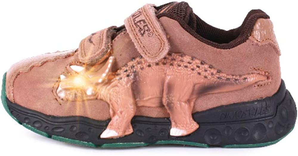 Dinosles 3D Triceratops LT Flashing LED Shoes for Kids Children Boys Girls, Lightweight & Breathable Casual Running Sneakers Walking Shoes with Eye Blinking Dinosaurs, Mocha, 1 Little Kid