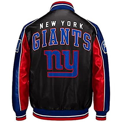 detailed look a2186 71644 Amazon.com : New York Giants faux leather jacket NFL Giants ...