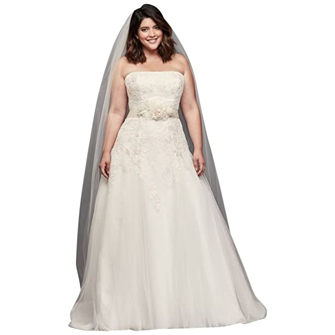 Appliqued Tulle A-Line Plus Size Wedding Dress Style 9WG3862 ...