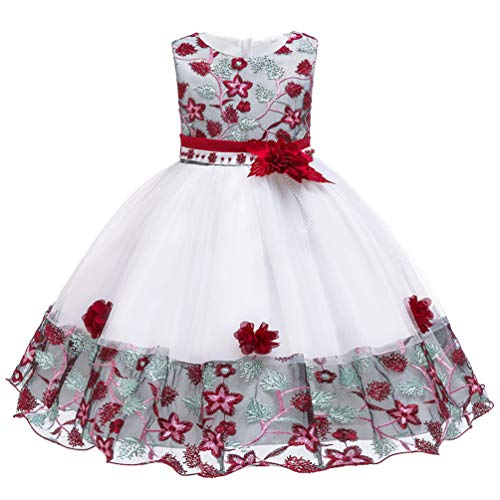 2T 24 Months 3T Fancy Burgundy Baby Girls Dress Fit Knee Length Tulle Vintage Princess Floral Summer Baptism Wedding Party Little Girl Dress 2 3 -