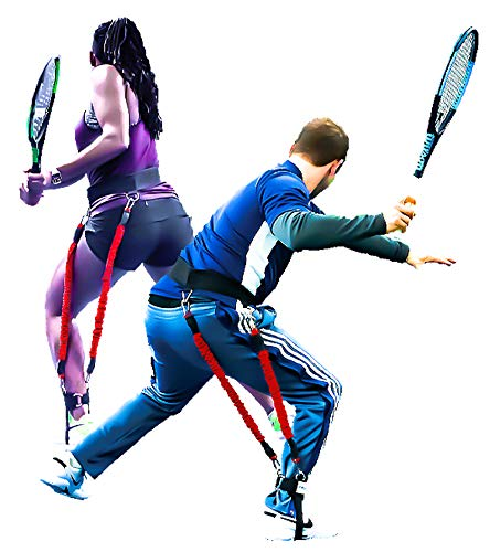 "(VeloPRO Velocity Load Harness | Resistance Training System for Tennis Players | Two Specialized Bungee Cords, One Foot Strap & Waist Belt | 4-in-1 | Height: Up to 5'3"", Waist: 20"" to 30"" )"
