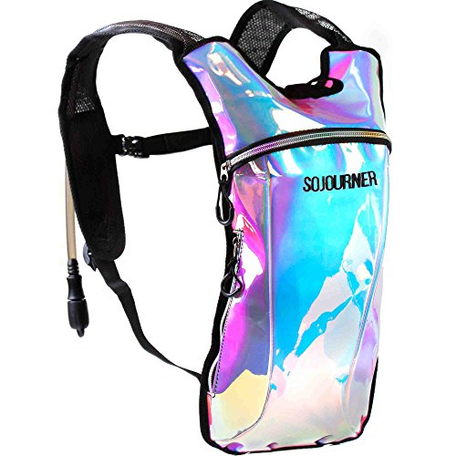 Sojourner Hydration Pack Backpack - 2L Water Bladder Included for Festivals, Raves, Hiking, Biking, Climbing, Running and More (Iridescent - Blue)