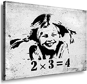 Banksy Graffiti Street Art 1245. Size 100x70x2cm(l/h/w). Canvas On Wooden Frame. Made In Germany.