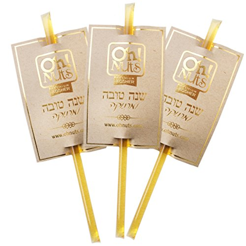 Rosh Hashana Happy New Years Gift, 5 Flavor Variety Gift Box, Natural WILDFLOWER Honey Sticks Gift Set Honey NO ADDITIVES - NO COLORING - Oh! Nuts