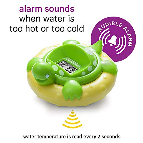 AAQUATOPIA Floating Safety Bath Thermometer for Infants, Digital Audible Alarm, Beeps when too hot or too cold!, Green