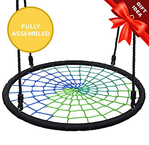 Cool Outside Toys (Play Platoon Spider Web Tree Swing - 40 Inch Diameter, Fully Assembled, 600 lb Weight Capacity, Easy to Install, Cool Multi)