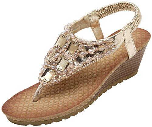 BIGTREE Women Sandals Bohemian Beach Shiny Rhinestone Soft Elastic Wedge Sandals Gold QFZMcY