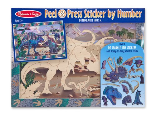 Melissa & Doug Peel and Press Sticker by Number Activity Kit: Dinosaur Dusk - 70+ Stickers, Frame by Melissa & Doug