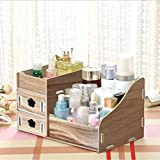 Dolland Makeup Organizer Countertop Cosmetic Storage Drawers Jewelry Display Box Bathroom Bedroom Accessories,Wood
