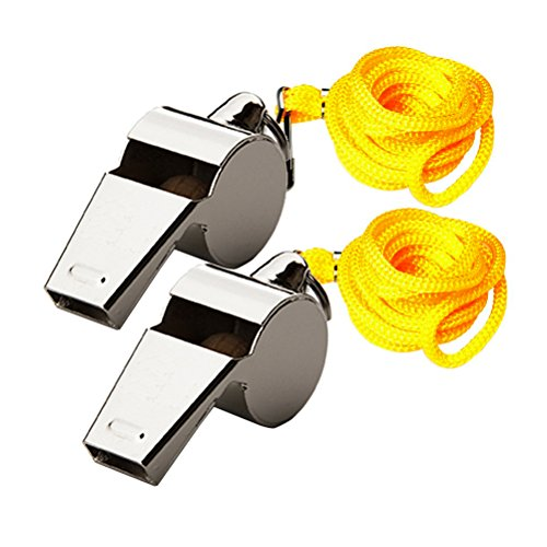 Pengxiaomei 2 Pcs Metal Referee Whistles, Stainless Steel Coach Whistles Extra Loud Whistle Lanyard School Sports, Soccer, Football, Basketball Lifeguard Protection