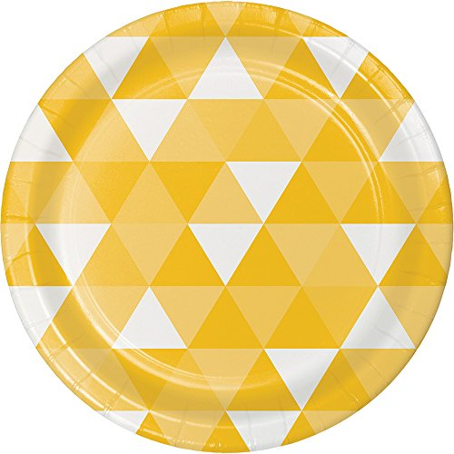 (Creative Converting 319967 96 Count Dessert/Small Paper Plates, Fractal School Bus Yellow)