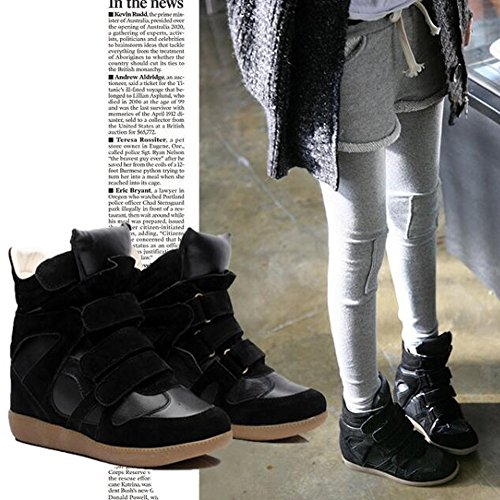 Shoes FASHION Top Sneaker Paltform Cansual PP Hidden High Women's Heel Wedge Vogue Black OPddqW6