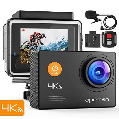 APEMAN 4K Action Camera 16MP WiFi External Microphone Remote Control Underwater 40M Waterproof